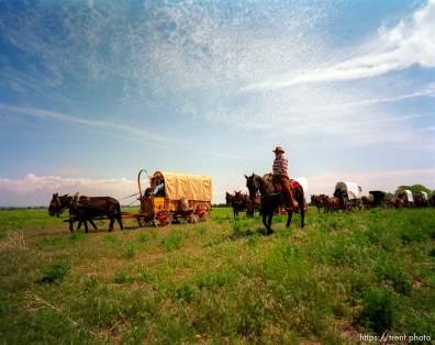 The Mormon Trail Wagon Train pulls in for a lunch break.
