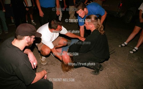 Guy pinned down by security after Machine Head at Brick's.