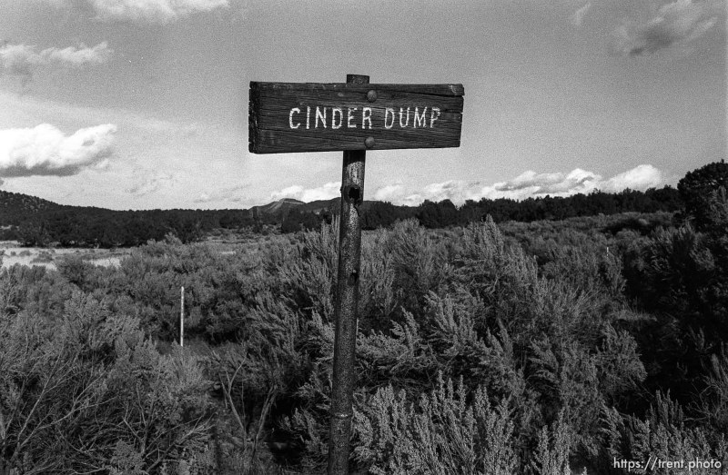 """Cinder Dump"" sign at ruins of Old Irontown."
