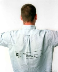 Trent Nelson wearing goofy work shirt. Photo by Steve Griffin.