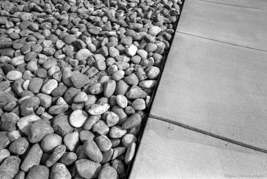 Rocks and sidewalk