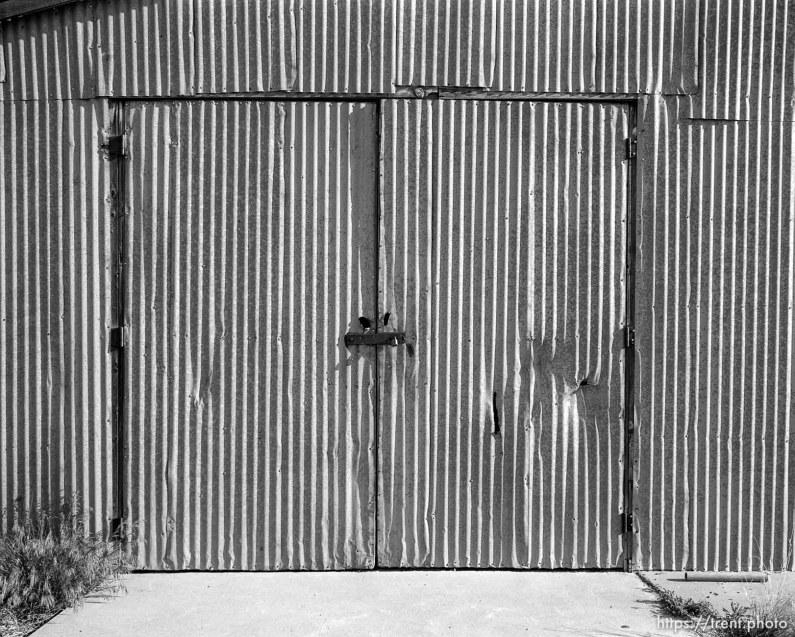 Metal building and door.
