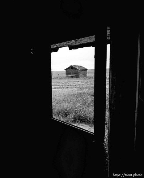 Barn through window at Aunt Bea's farm.