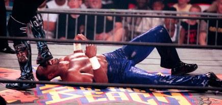 Karl Malone wrestles Hollywood Hulk Hogan at WCW's Bash at the Beach.