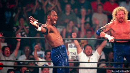 Karl Malone and Diamond Dallas Page at WCW's Bash at the Beach.