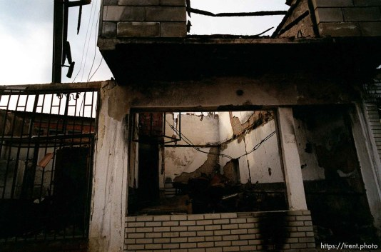 Destruction in the lower Bosniac area of North Mitrovica.
