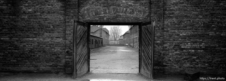 Looking out of the death block's courtyard (where the wall of death is) at the Auschwitz Concentration Camp.