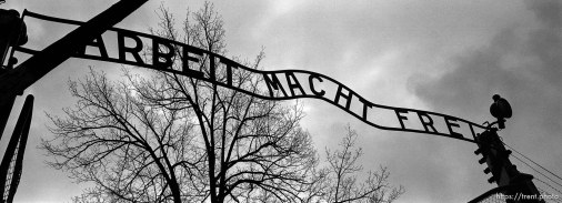 """Arbeit Macht Frei"" sign at the entrance gate to the Auschwitz Concentration Camp."