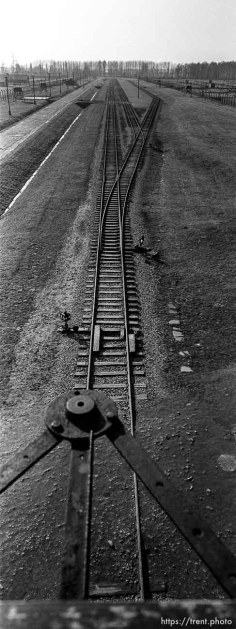 """The rails leading to the selection area, seen from the """"Death Gate"""" guard tower at the Birkenau Concentration Camp."""