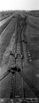 "The rails leading to the selection area, seen from the ""Death Gate"" guard tower at the Birkenau Concentration Camp."