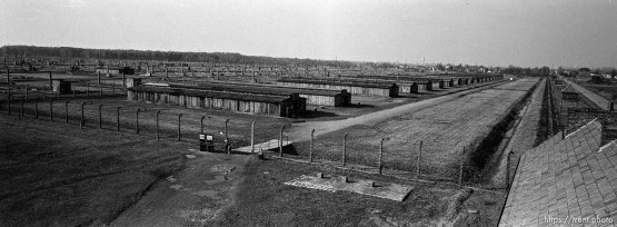 """View of the camp from the """"Death Gate"""" guard tower at the Birkenau Concentration Camp."""