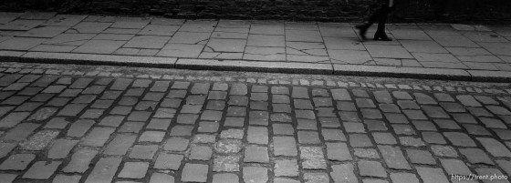 Road and sidewalk paved over Jewish graves.