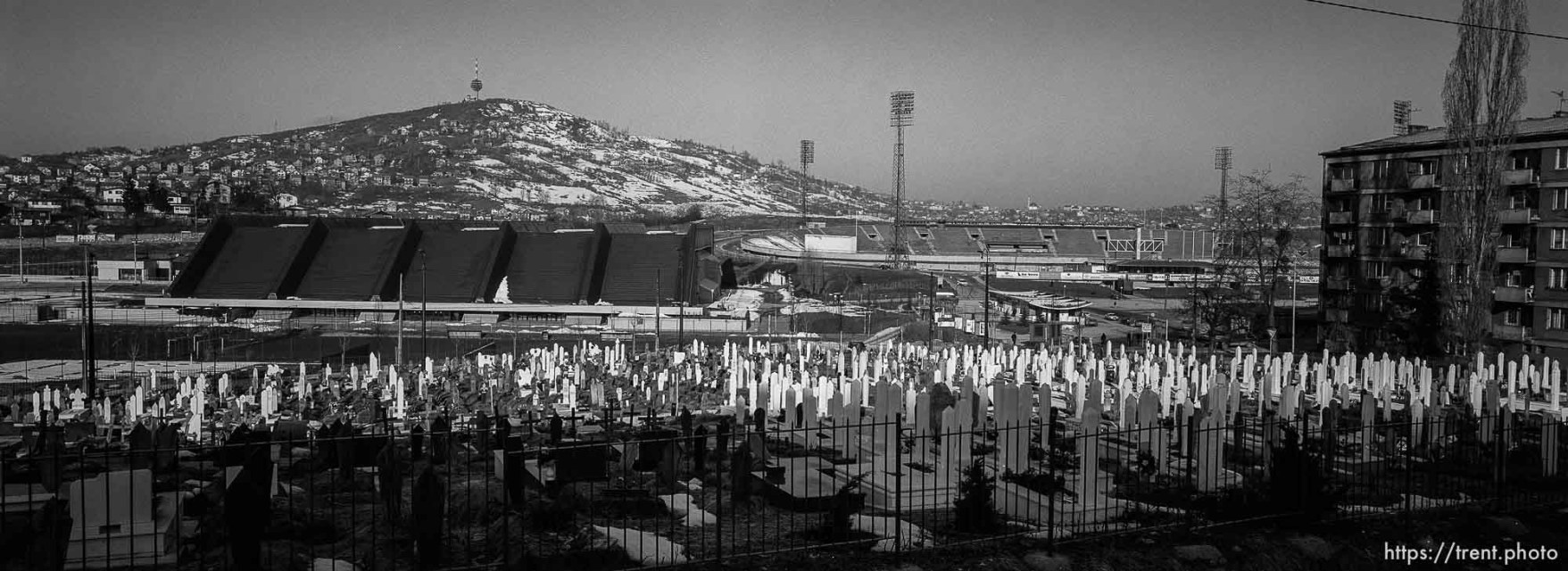 War-time cemetery at football pitch and the Zetra Olympic venue and stadium.