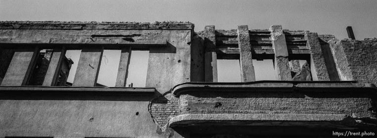 Shelled, destroyed building
