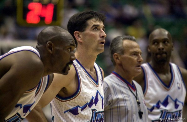 Karl Malone, John Stockton, Bryon Russell dejected at the end of Utah Jazz vs. Portland Trailblazers. Game 3, 2nd round NBA Playoffs. Trailblazers won to take 3-0 advantage in series, which they eventually won.