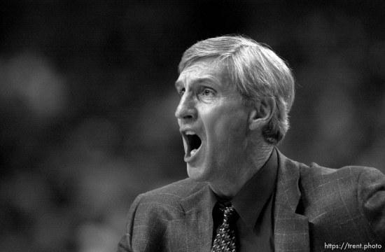 Jerry Sloan yells at Utah Jazz vs. Portland Trailblazers. Game 5, 2nd round NBA Playoffs. Trailblazers won win series.