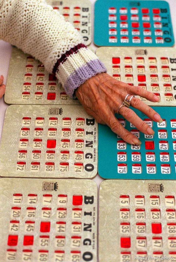 Elfrieda Marach playing Bingo in Kearns.