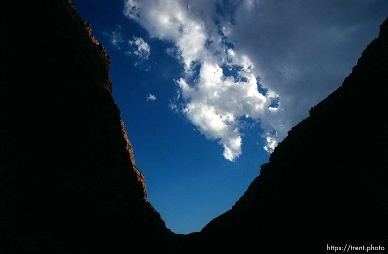 Clouds, sunlight and canyon walls on a Native American river trip through Lodore Canyon and Dinosaur National Monument.