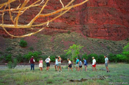 Clifford Duncan and others on a nature hike on a Native American river trip through Lodore Canyon and Dinosaur National Monument.