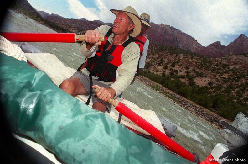 Dee Holladay pilots rapids on a Native American river trip through Lodore Canyon and Dinosaur National Monument.
