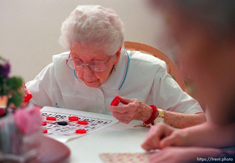 Lorelda Young, 95. Bingo at the Heritage Place senior living center.