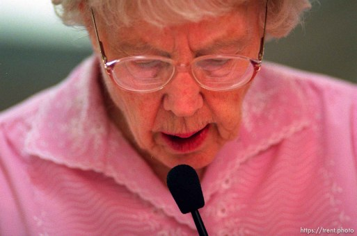 Catherine Feathersonte, 90, is the caller at Bingo at Heritage Place, a senior home.
