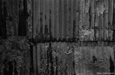 Corrugated tin wall at Bodie State Historic Park, ghost town
