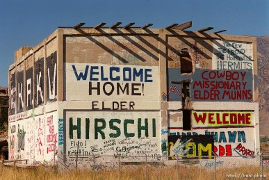 graffitied ruins near Honeyville, off I-15.