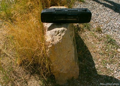 Stereo that was playing the theme from Rocky at the Skyline Drive aid station. Wasatch 100 Endurance Run.