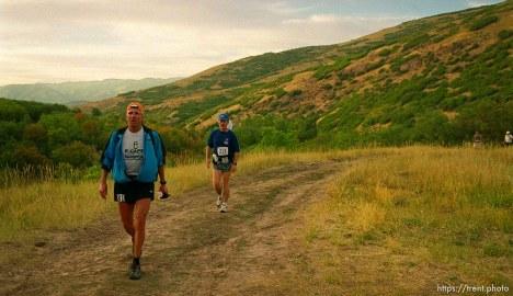 Dave Tavernini (left) and Karl Jensen near the Lambs Canyon aid station. Wasatch 100 Endurance Run.