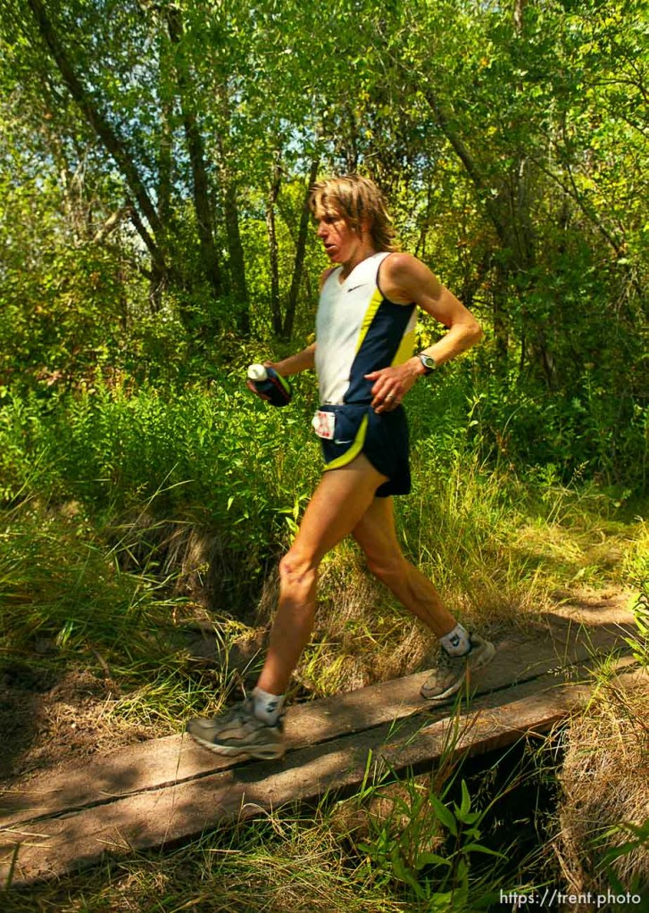 Ann Trason near the Lambs Canyon aid station. Wasatch 100 Endurance Run.