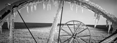 Ice on irrigation equipment.
