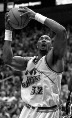 Karl Malone at Jazz vs. Miami Heat.01/04/14