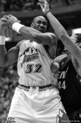 Karl Malone at Jazz vs. Miami Heat.