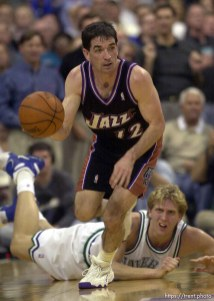 John Stockton steals from Dirk Nowitzki as the Utah Jazz face the Dallas Mavericks in game four of their first round playoff series, in Dallas Tuesday. 05/01/2001