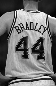 Shawn Bradley (back) as the Utah Jazz face the Dallas Mavericks in game four of their first round playoff series, in Dallas Tuesday. 05/01/2001