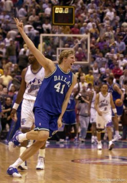 Dirk Nowitzki celebrates victory as the Utah Jazz face the Dallas Mavericks in game five of their first round playoff series, in Salt Lake City Thursday. 05/03/2001