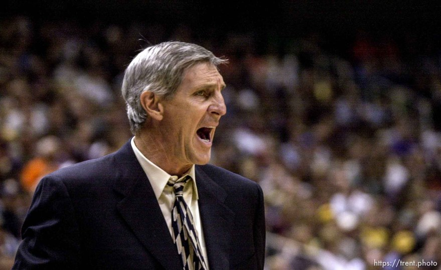 Jerry Sloan as the Utah Jazz face the Dallas Mavericks in game five of their first round playoff series, in Salt Lake City Thursday.