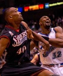 Karl Malone. Jazz host the Philadelphia 76ers Saturday night at the Delta Center. Jazz win. 12.29.2001, 7:19:36 PM