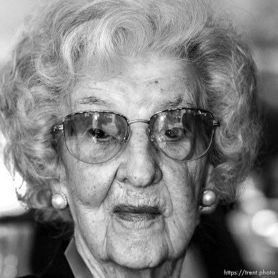 Irene Leishman, 102, Bountiful. The 16th annual celebration of Utah's Centenarians at the Governor's Mansion. ; 05.29.2002, 10:12:29 AM