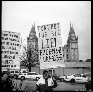 Main Street. Anti-Mormon protesters at LDS General Conference