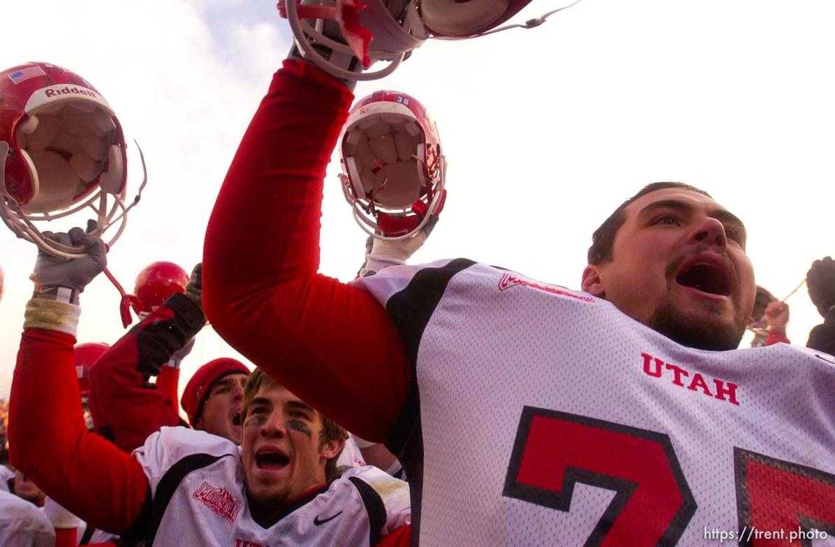 utes celebrate. Provo - Utah beats BYU 3-0. BYU vs. Utah football Saturday at LaVell Edwards Stadium.