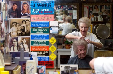 Sandy - Ruth Saunders has been cutting hair since 1946. She has a small shop in the basement of her Sandy home, where she sees regular customers like Vivian Keysaw, who has been having Saunders cut her hair for 45 years.