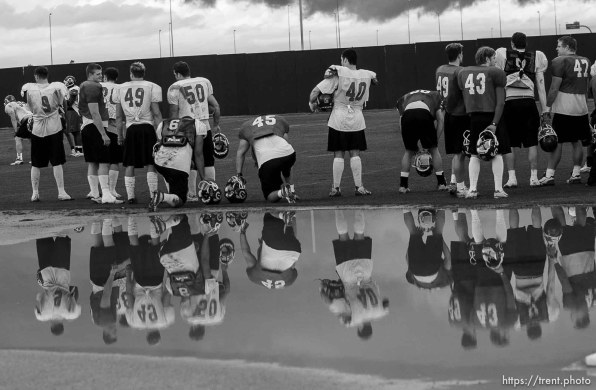 reflections. Utah football practice Wednesday afternoon, Scottsdale Community College.