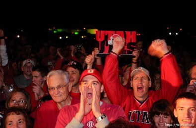 fans. The Utah football team and their Fiesta Bowl appearance was the focus of a large pep rally was held Thursday evening at the Point South Mountain Resort. A large crowd of Utah fans was joined by the school band and cheerleaders.