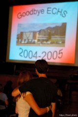East Carbon High School students Emily Evans (left) and Cody Valdez embrace during a slideshow summarizing the final year at the school. The small town of Sunnyside's East Carbon High School is being closed. The students will be transfered to Price's Carbon High School, a 25-minute bus ride away.