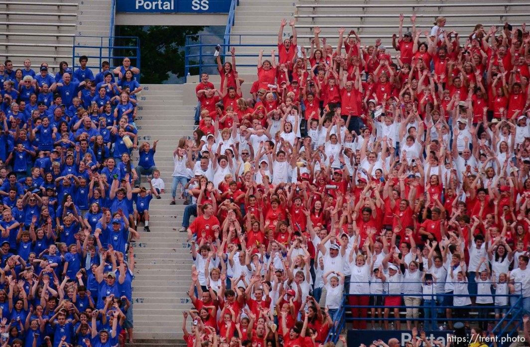 fans looking like American flag doing the wave. Stadium of Fire, Saturday night at LaVell Edwards Stadium, Provo.