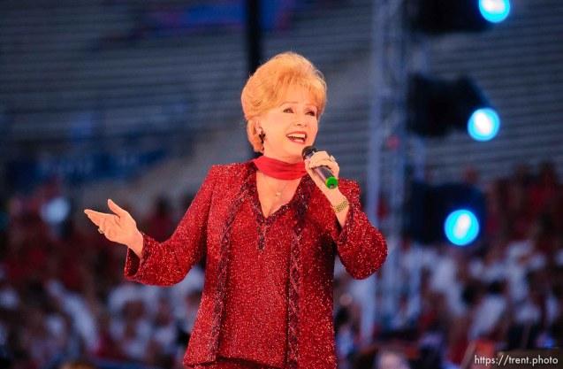 Debbie Reynolds. Stadium of Fire, Saturday night at LaVell Edwards Stadium, Provo.