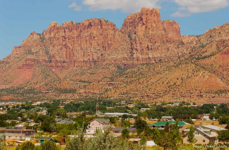 Hildale, Colorado City with Vermillion Cliffs in background.