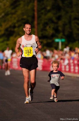 Steven King and his son Braden King at the finish line St. George Marathon